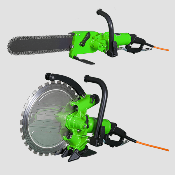 Green hand saws with orange cables and black handles on a gray background with different cutting blades or discs for a fast and safe tillage.