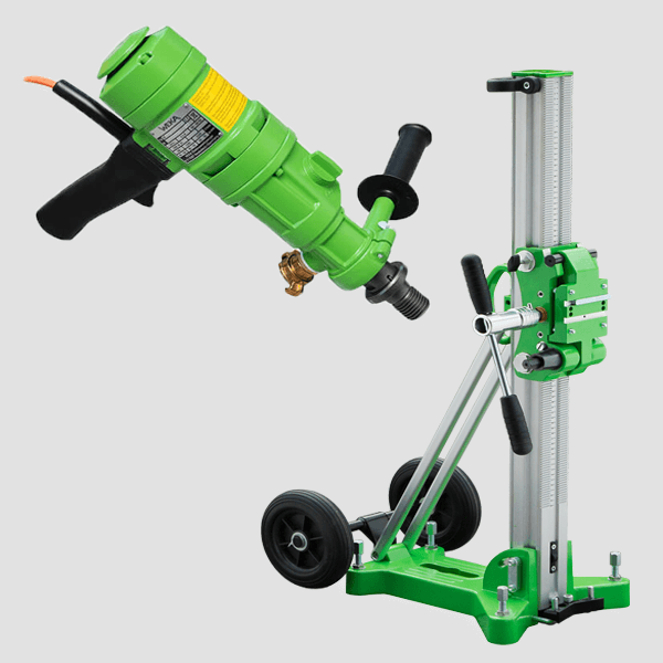 Clear core drilling rigs in various designs and series, color combinations of mainly green, black and silver, handles and castors available.
