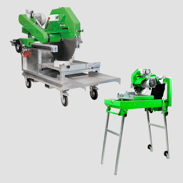 Floor saw for various tasks in beautiful green with black tires or long silver legs for a fast tillage, completely depicted on a gray background.