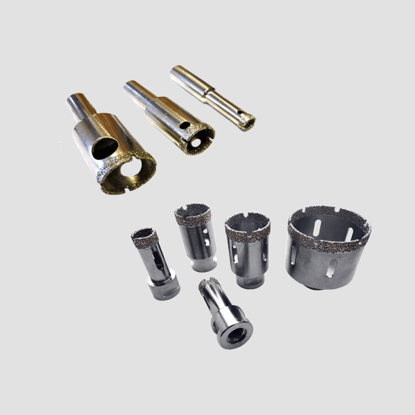 Gray and elongated drill bits for ceramics. Accustomed Dr. Schulze quality guarantees fast and clean work in difficult situations for ceramics.