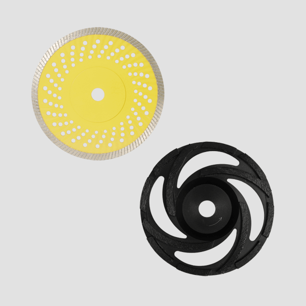 The picture combination of diamond cutting discs for hand cutting machines consists of a yellow disc with pattern and an aerodynamic black disc.