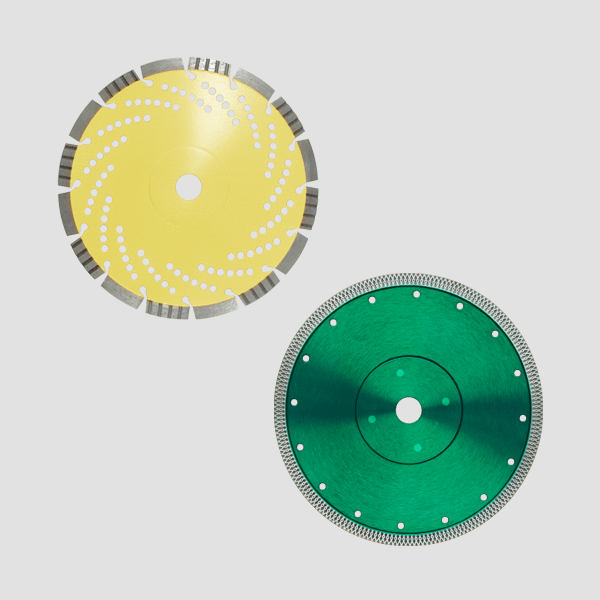 An impressive dark green and a light yellow high quality diamond cutting disc suitable for diamond cutting discs can be seen on this product picture.